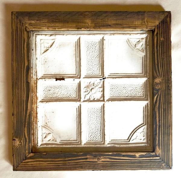 Vintage Ceiling Tile Framed Wall Art Farmhouse Wall Art Rustic Wall Art Vintage Ceiling Tile Handscraped Wood Frame