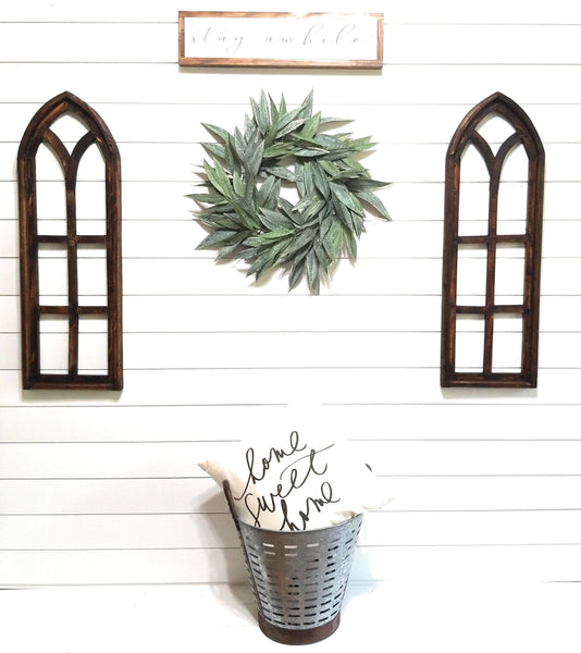 wall windows Farmhouse Brown Dandelion Wooden Wall Window Arches Set of 2 -Rustic Cathedral Wood Window- The Farmhouse Brown Dandelion