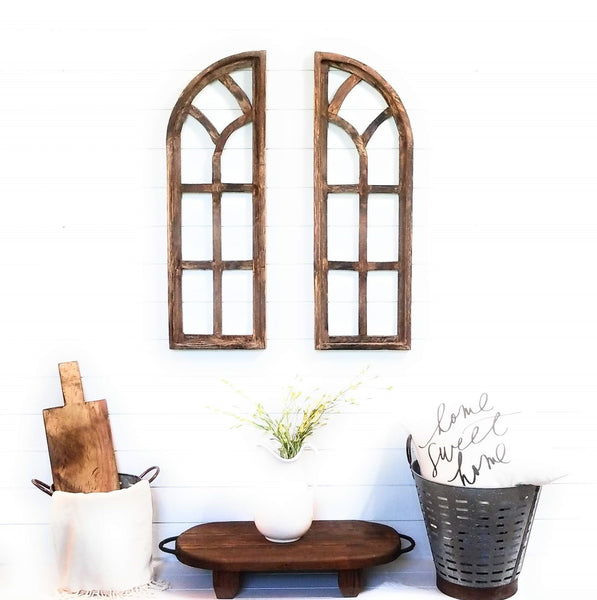 wall windows Farmhouse Brown Chariot Gardens Wooden Wall Windows Set of 2-Wood Window Frame- Chariot Gardens Brown