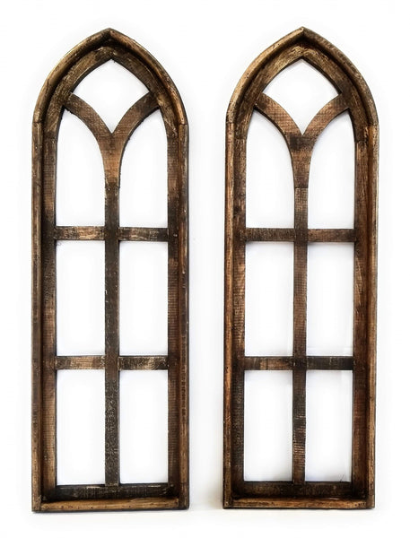 wall windows Farmhouse Rustic Dark Brown Wooden Wall Window Arches Set of 2 -Cathedral Wood Window- Rustic Dark Brown Dandelion