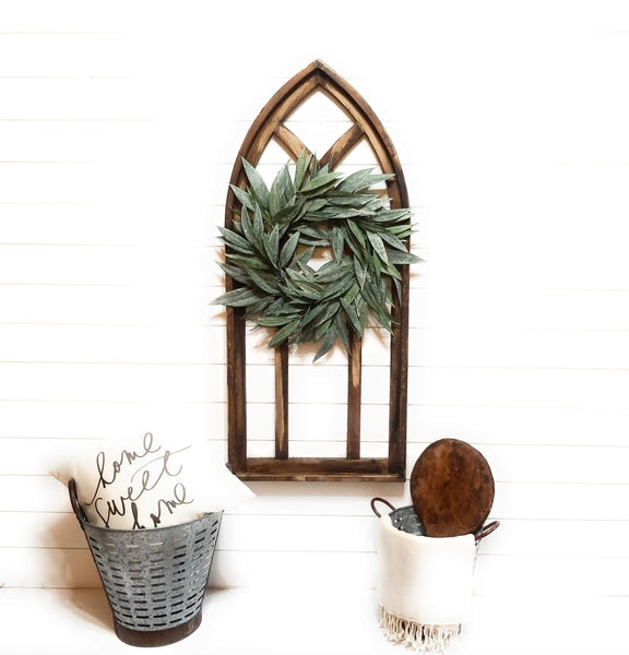wall windows Farmhouse Wood Cathedral Window Arch Rustic Brown- The Farmhouse Cathedral Window