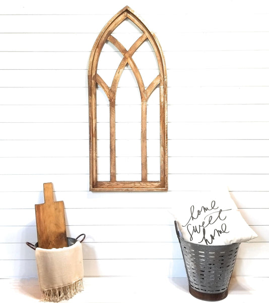 wall windows Farmhouse Wooden Cathedral Window Arch- The Farmhouse Cathedral Window