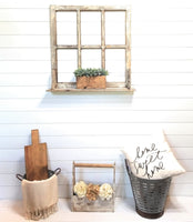 wall windows Farmhouse Wooden Wall Window 4 Panel with Shelf Wood Window -Farmhouse Shelf Window