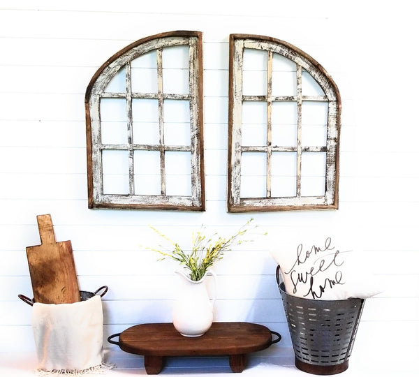 wall windows Farmhouse Wooden Wall Windows Set of 2- Large Wood Window Frame- Stallion Farms
