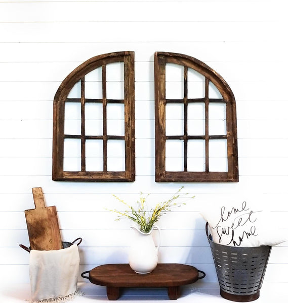 wall windows Farmhouse Wooden Wall Windows Set of 2- Large Wood Window Frames- Stallion Farms Brown