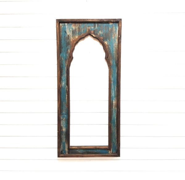 wall windows Large Rustic Turquoise Brown Wood Wall Window Arch -Tall Wood Window- Rustic Elegance Window- Limited Edition