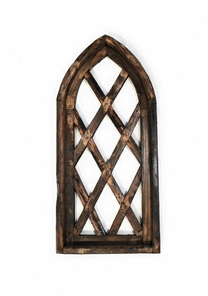 wall windows Mini Farmhouse Wooden Wall Window Arch Wood Window - Lattice Gardens Dark Brown