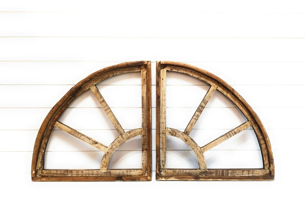 wall windows Set of 2 Quarter Cathedrals- The Willow View Farmhouse Wooden Wall Window Arch Wood Window