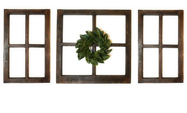 wall windows Set of 3 Rustico Farmhouse Wooden Wall Window  Set - The Rustico Collection Wood Window Set