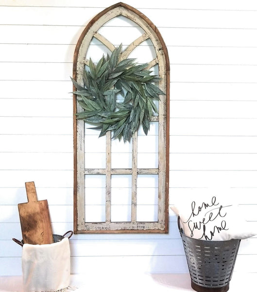 wall windows X-Large Farmhouse Wooden Wall Window Arch -Tall Wood Window- Tall Oaks