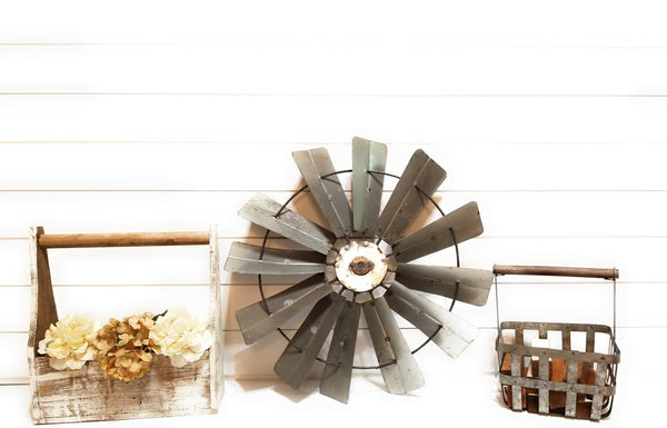 windmill Metal Windmill - Galvanized Metal Decorative Windmill Farmhouse Rustic Style - Windmill Three Sizes