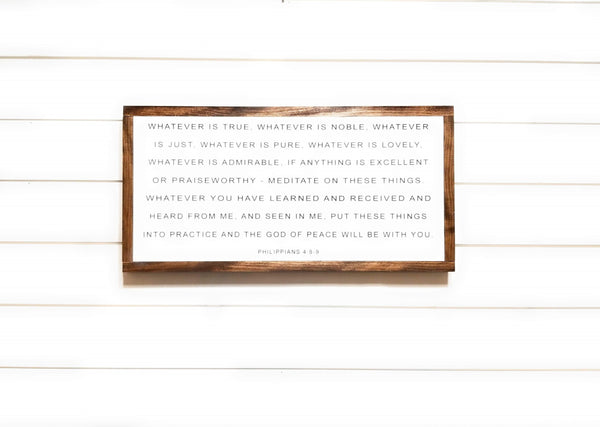 "wooden sign 12""X24"" Whatever Is True Wood Signs"