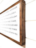 "wooden sign 12""X24"" Whatever Is True Wood Sign"