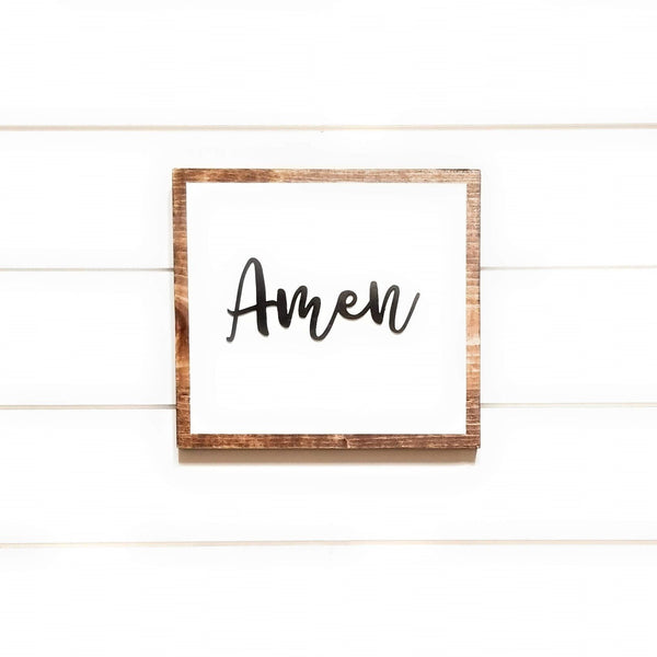 wooden sign 3D Amen Wood Sign - Farmhouse Sign - Amen Sign