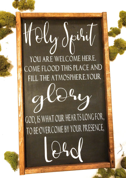 Holy Spirit Farmhouse Sign, You are Welcome Here Holy Spirit Song Sign - Ranch Junkie