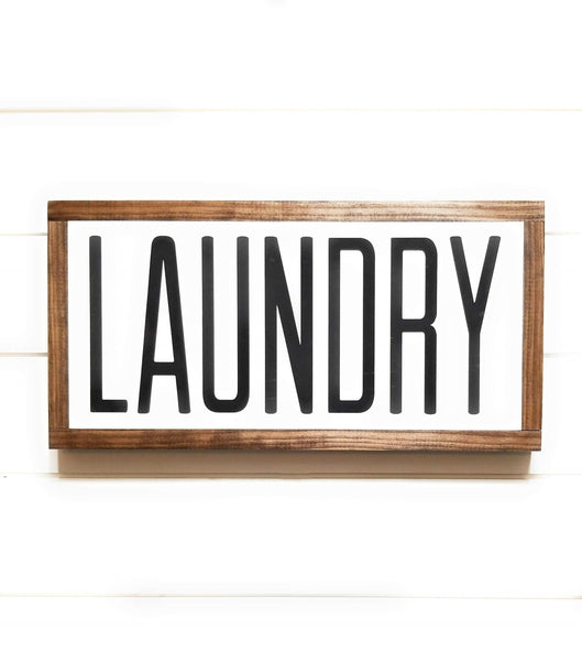 "wooden sign 9"" X 18"" Laundry Wood Sign - Horizontal"