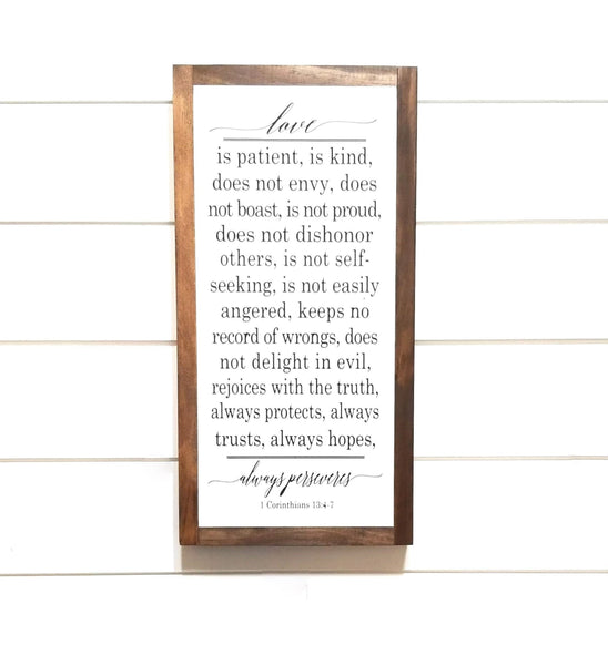 "wooden sign 9"" X 18"" Love Is Patient Wood Sign- Love is Patient Hand Crafted Sign"