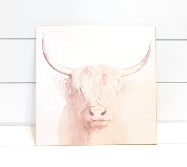 "wooden sign Cow Wood Print - Highland Cow - Cow Art 12"" X 12"" Farmhouse Rustic Wall Decor Cow Decor"