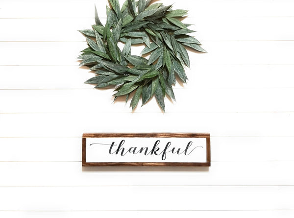 "wooden sign 6""x24"" Thankful Wood Sign"