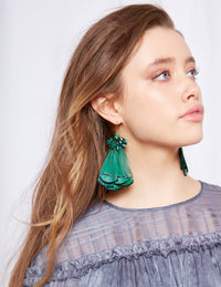 Malachite feather earrings (post)