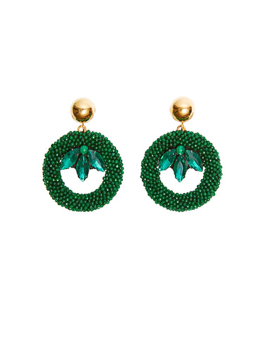 Malachite round earrings (post)