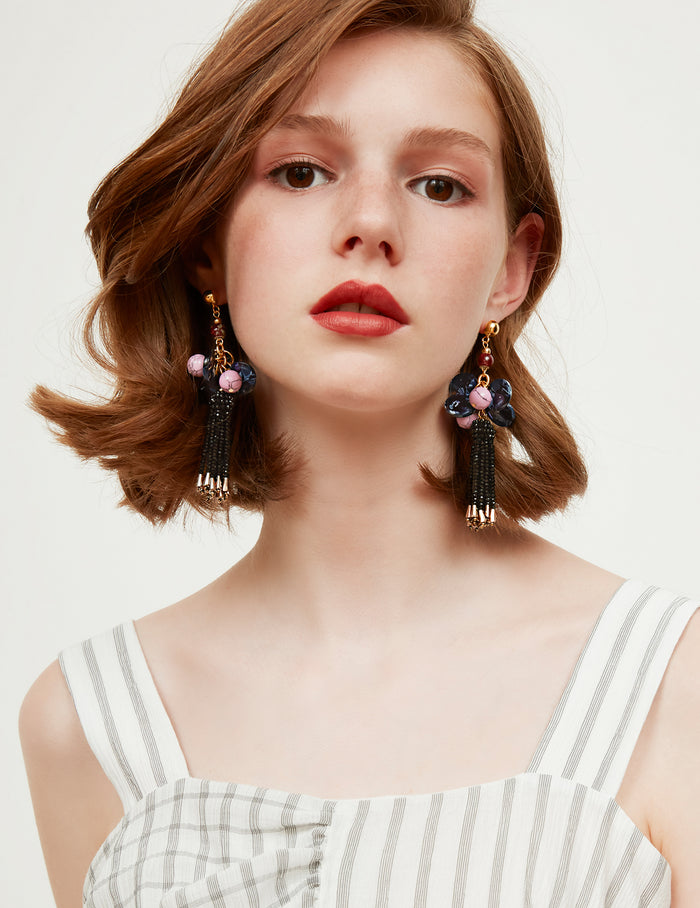 Aria fringe earrings (stud)