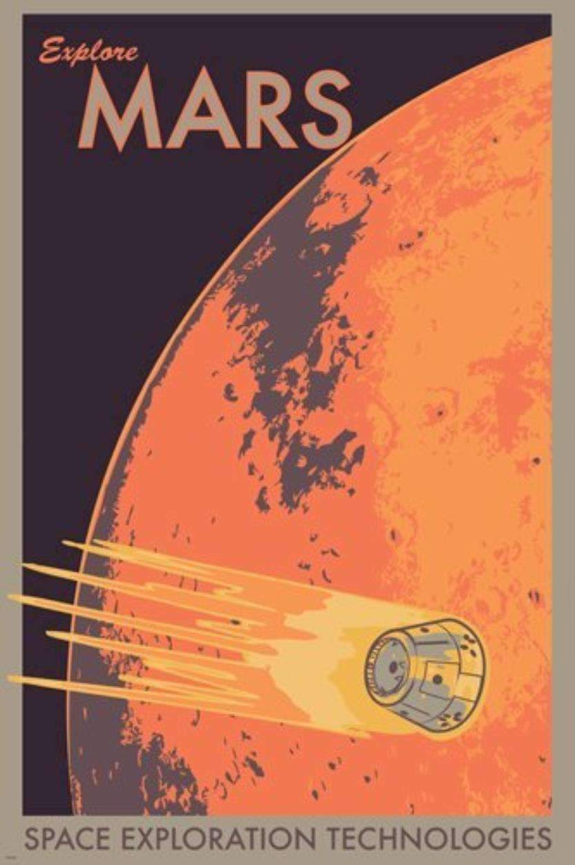 EXPLORE MARS poster - SpaceX  merchandise