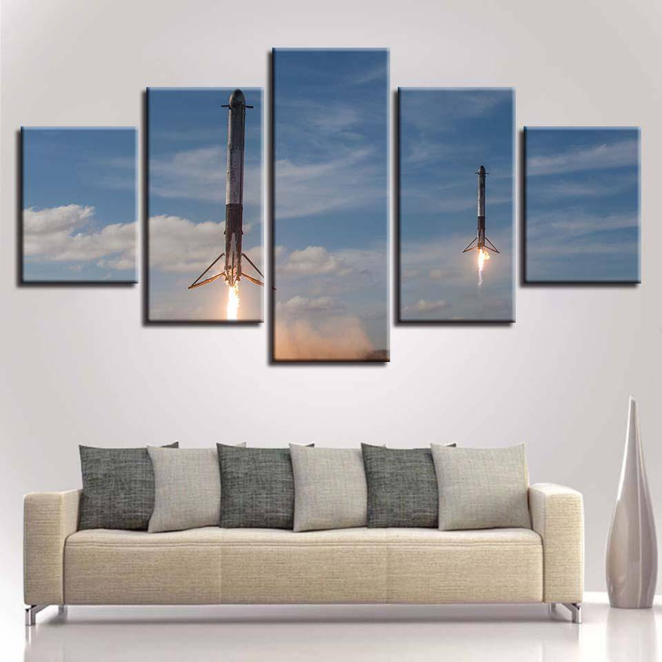 Rockets Returning Canvas - SpaceX  merchandise