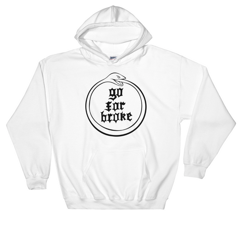 Men's Go For Broke OUROBOROS Black Logo Collection White Hoodie