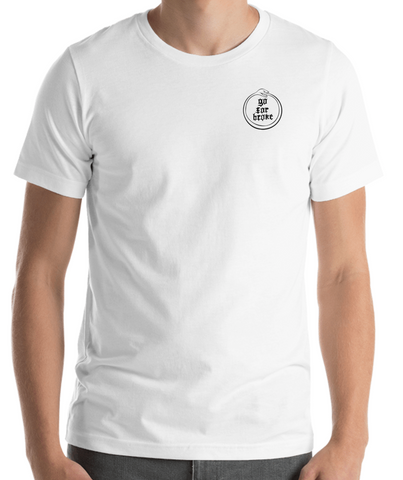 Men's Go For Broke OUROBOROS Black Logo Collection White Pocket Logo T