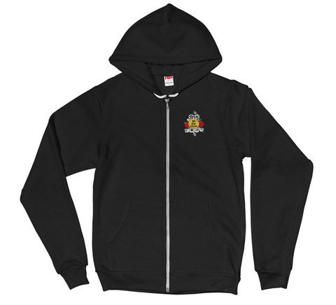 Men's Go For Broke Rose Gold Collection Black Zip Hoodie Pocket Logo