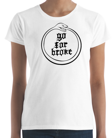 Women's Go For Broke OUROBOROS Black Logo Collection White T