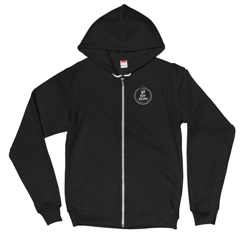 Women's OUROBOROS White Logo Collection Pocket Logo Zip Hoodie