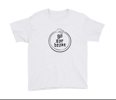 Youth Go For Broke Black Logo Ouroboros T Shirt