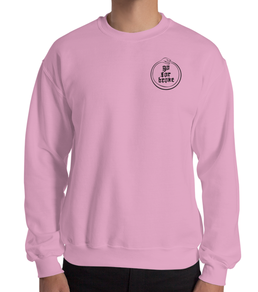 Men & Women's Go For Broke Pink Crew Ouroboros Pocket Logo
