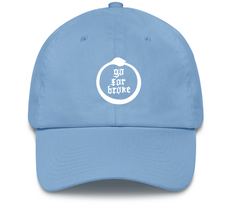 Men's & Women's Go For Broke Full Logo Carolina Blue Dad Hat