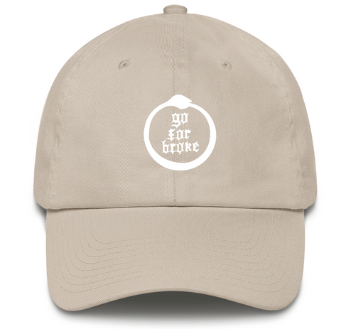 Men's & Women's Go For Broke Full Logo Khaki Dad Hat