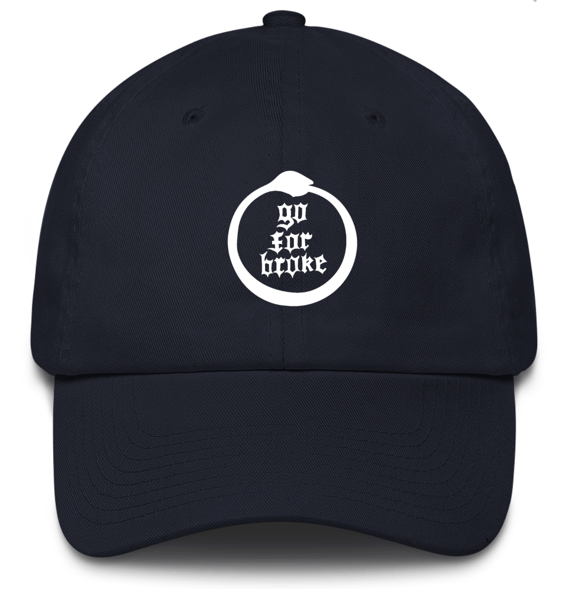 Men's & Women's Go For Broke Full Logo Navy Dad Hat