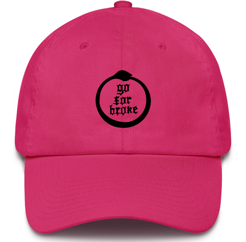 Men's & Women's Go For Broke Full Logo Pink Dad Hat