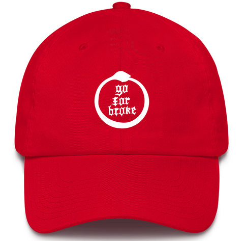 Men's & Women's Go For Broke Full Logo Red Dad Hat