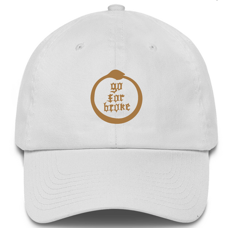 Men's & Women's Go For Broke Full Logo White Dad Hat