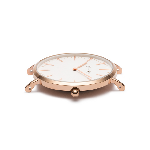 Rose Gold Watch With Mesh Strap (Rose Gold/White) - Harper Rose