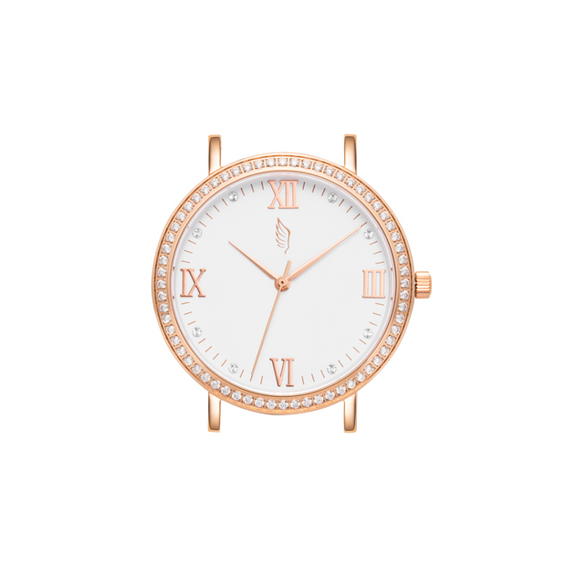 Rose Gold and White Watch with a Swarovski Crystal Bezel.