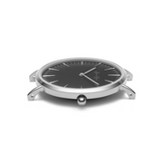 Black Genuine Leather Watch with Silver Detailing