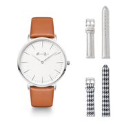Brown Pastel Watch With Silver Details | 3 Styles in 1 | Dog Tooth and Silver Leather