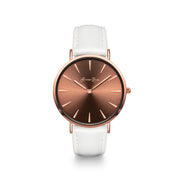 Coffee Watch with White Leather Strap - Harper Rose
