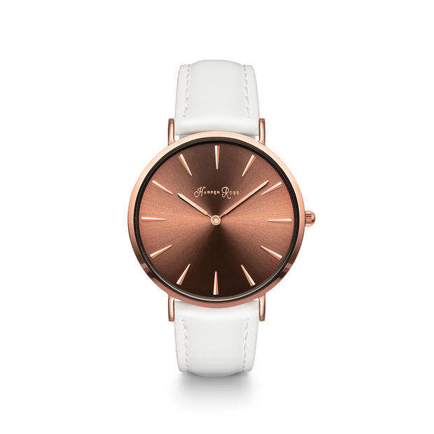 Coffee Watch Dial with White Leather Strap - Harper Rose