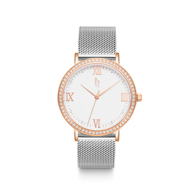 Silver Mesh Watch with Rose Gold Details and a Swarovski Crystal Bezel