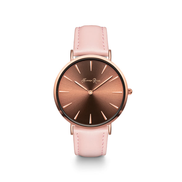Coffee Watch with Pink Leather Strap - Harper Rose