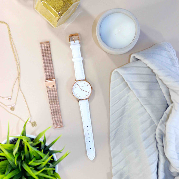 White Leather Strap - Harper Rose